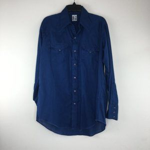 Mens Blue Button Up Pearl Snap See measurements